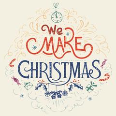 We make Christmas hand-lettering vintage label