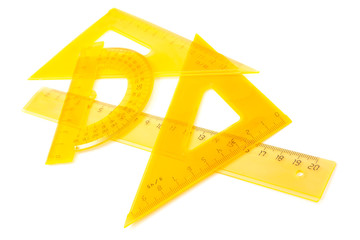 yellow set of measuring tools