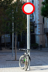 bike and a road sign