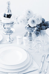 a table with dishes