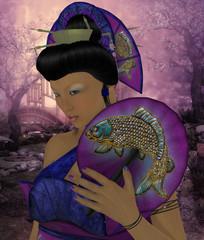 Oriental Woman Katana