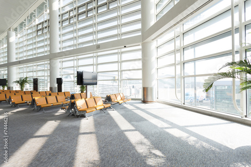 modern airport waiting hall interior - 74446286
