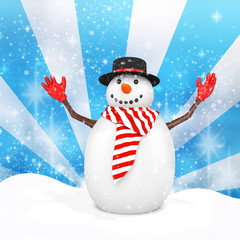 3d cute snowman with hat on winter snowflake