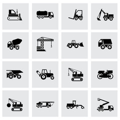 Vector black construction transport icon set