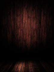 Dunkler Innenraum mit Holzbretter.