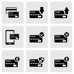 Vector black credit card icon set