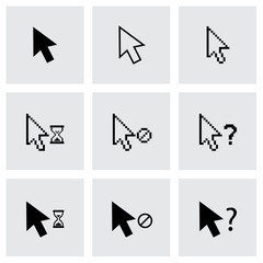 Vector black cursor icon set
