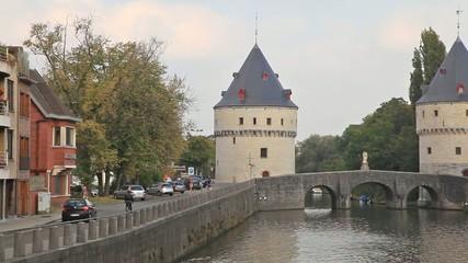 Medieval Broel Towers and old bridge in Kortrijk city
