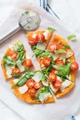 Arugula, Shaved Parmesan and Cherry Tomato Pizza