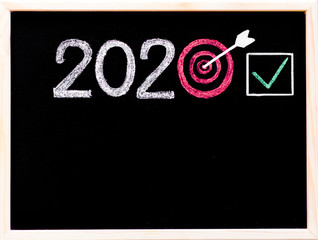 Conceptual image of Year 2020, in shape of a target