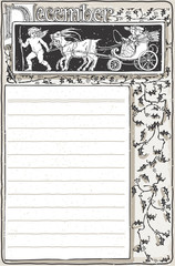 Vintage December Page with Carriage Cupid