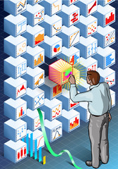 Isometric Infographic with Standing Man on Statistics Wall