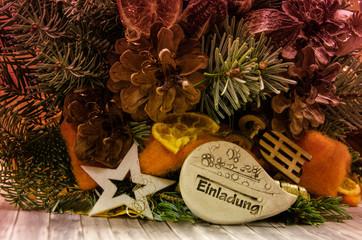 Einladung, weihnachtlich, Weihnachtsfeier, Schlittenfahrt