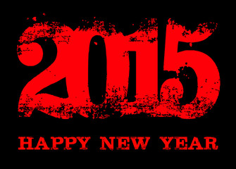 2015 Happy New Year text on black background