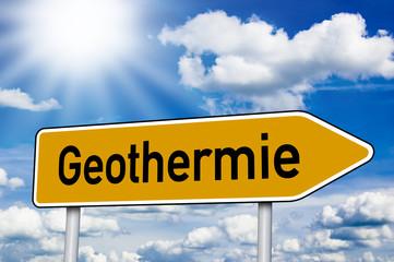 Wegweiser mit Geothermie