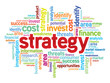 Strategy business concept in word tag cloud, vector background