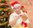 grandmother with christmas gifts
