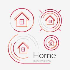 Thin line neat design logo set, home idea