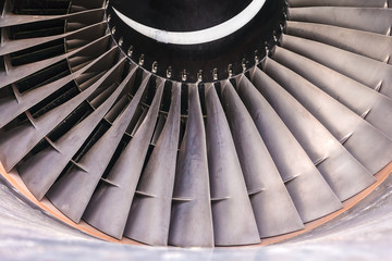 Detail of a used airplane jet turbine
