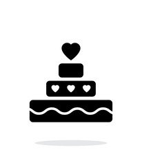 Romantic pie with heart icon on white background.
