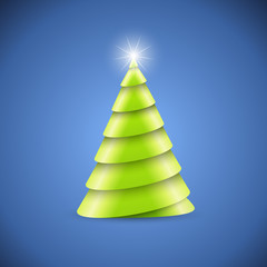 Green paper spiral Christmas tree vector card.
