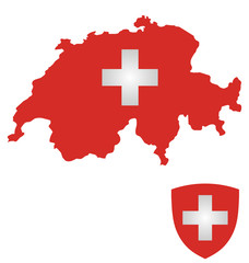 Flag and coat of arms of the Swiss Confederation