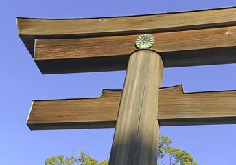 Torii gate at Meiji Shrine, Tokyo Japan
