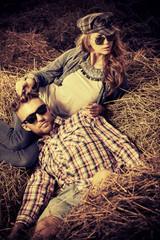 couple in haystack