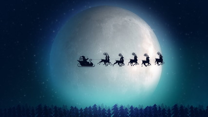 Santa with reindeer flying over the trees- Christmas concept