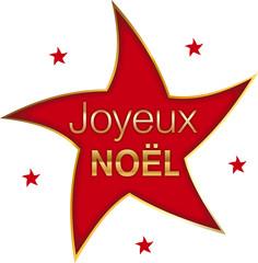 logo joyeux noël doré étoile rouge kazy