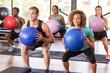 Gym class doing squats - 74451443