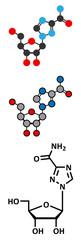 Ribavirin antiviral drug molecule.