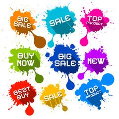 Blots Splashes Sale Vector Icons