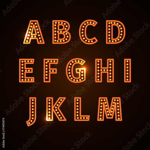 retro glowing font - 74451474
