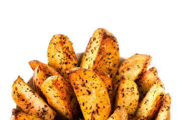 Fried potato in country style isolated on white background close
