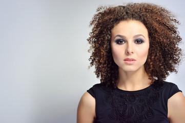 Beautiful girl face close up - copy space