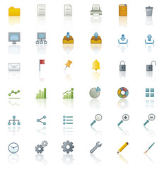 Office icons. Coloured