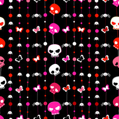 seamless pattern with skulls, butterflies and spiders