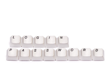 letters from computer keypad buttons login password