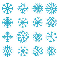 Vector Blue Snowflakes Set