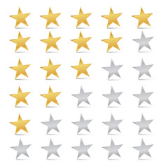 Vector Gold and Silver Stars Set - Rating Symbols