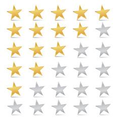 Vector Gold and Silver Stars Set - Rating Symbols