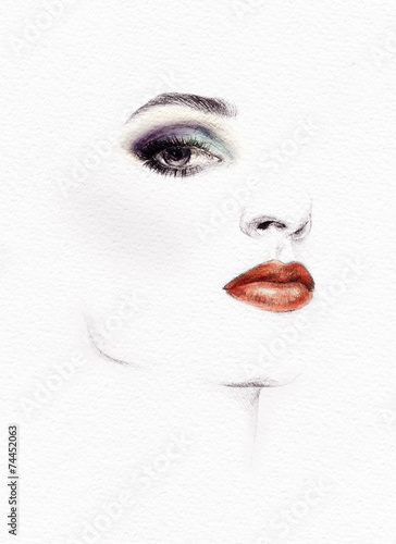 Woman face. Hand painted fashion illustration - 74452063