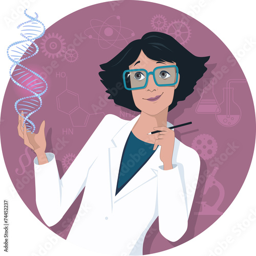 Fototapeta Female scientist with a DNA molecule
