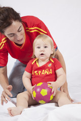 surprised baby spanish soccer fan