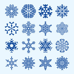 Sixteen vector snowflakes isolated on blue