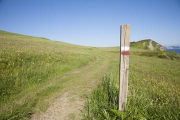 trekking wood signpost