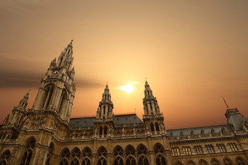 Rathausplatz Rathaus Town Hall Vienna with sunset