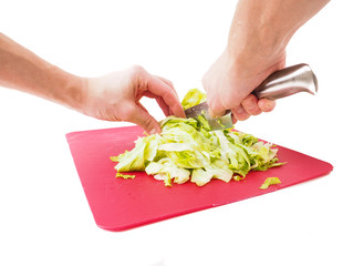 Hands cutting fresh green lettuce salad with grey metal knife on