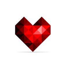 Vector red heart isolated on a white backgrounds